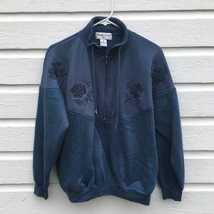 Vintage Rose half zip pullover sweatshirt